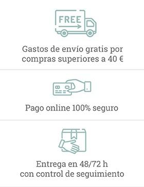 Condiciones de pago seguro y entrega en 48/72 horas